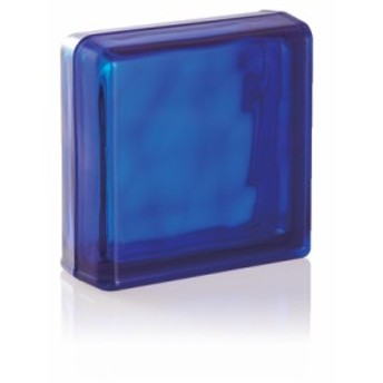 LUMINO GLASS ガラスブロック ブライトシリーズエンドブロック(2面小口化粧) 2面 コバルトブルー CO
