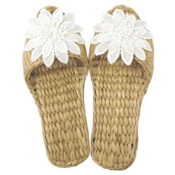 Summer slippers(サマースリッパ) ガマスリッパ お花モチーフ ホワイト 48466