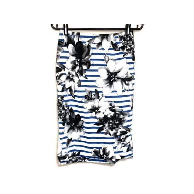 【中古】 フレイアイディー FRAY I.D スカート サイズ1 S レディース 白 ブルー 黒 ボーダー/花柄