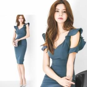 袖フリル タイトドレス 韓国ファッション スタイルアップ レディース トレンド イベント  送料無料