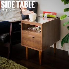 Meltol メルトル サイドテーブル  (サイドラック 北欧 ガラストップ 引出付き コンパクト 1人暮らし ブラウン 木製 北欧)