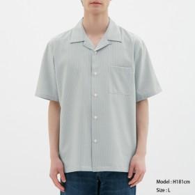 (GU)オープンカラーシャツ(半袖)(シアサッカー) BLUE S