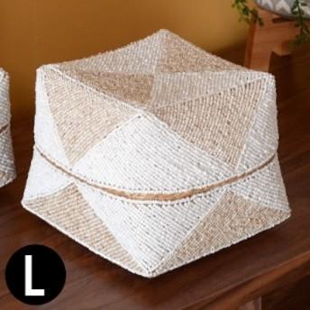収納ケース 収納ボックス ビーズ製 蓋つき ダイヤ柄 約20×20cm 白×ベージュ アジア雑貨 バリ雑貨 アジアン リゾート おしゃれ