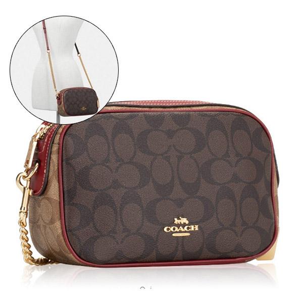 COACH 美國新款防刮皮革相機包鏈條斜背包(巧克力紅)