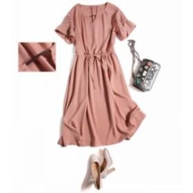 ワンピース 品質 優雅 レトロ ピンク 心地良い 100%ライセル フリル袖 通勤 OL 春 夏 体型カバー オシャレ ワンピ ベルト付き