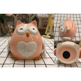 【お取り寄せ】貯金箱 置物 かわいい動物さん 陶磁器製 フクロウ (ピンク)