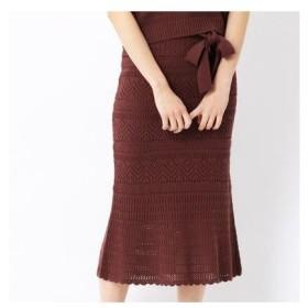 コムサイズム COMME CA ISM 〔ONIGIRI〕ペチスカート付き透かし柄 ニットスカート (レンガ)