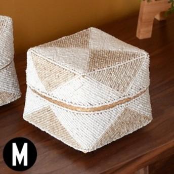 収納ケース 収納ボックス ビーズ製 蓋つき ダイヤ柄 約17×17cm 白×ベージ アジア雑貨 バリ雑貨 アジアン リゾート おしゃれ