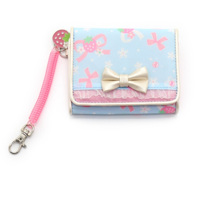 【オンワード】 Mother garden(マザーガーデン) マザーガーデン 二つ折り お財布 リボンブルー 水色 - キッズ
