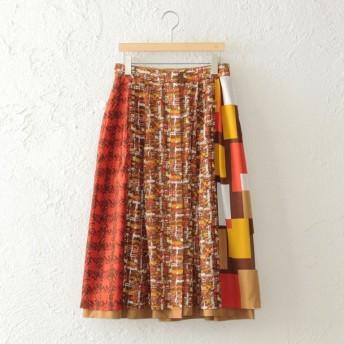 SALE【アマカ(AMACA)】 【STORYコラボ】ミックスチェックリバー スカート キャメル