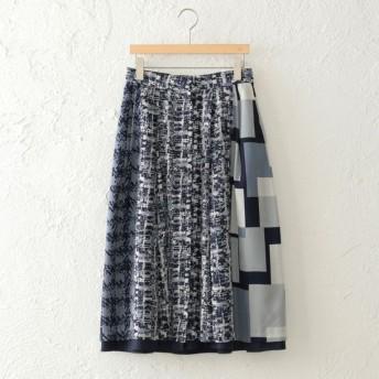 SALE【アマカ(AMACA)】 【STORYコラボ】ミックスチェックリバー スカート ネイビー
