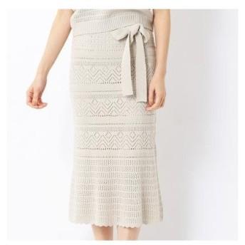 コムサイズム COMME CA ISM 〔ONIGIRI〕ペチスカート付き透かし柄 ニットスカート (アイボリー)