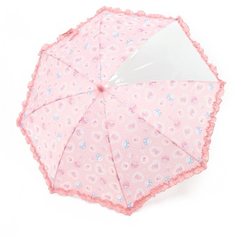 【オンワード】 Mother garden(マザーガーデン) うさもも 長傘 かさ レースフラワー柄 ピンク(淡) 傘40cm キッズ