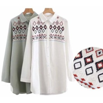 お洒落な刺繍シャツ 春 ブラウス シャツ ワンピース 楽ちん トップス ミディアム丈 ホワイト 送料無料