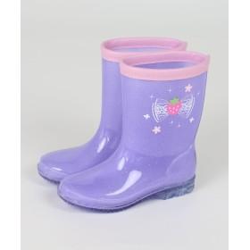 【オンワード】 Mother garden(マザーガーデン) 野いちご リボン柄長靴 レインシューズ 紫 キッズはきもの16cm キッズ