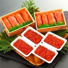 丸鮮道場水産 有名百貨店でも人気 北海道産昆布味明太子といくら醤油漬け詰合せ(計800g)M12