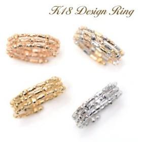 18金 リング 形状記憶 K18 指輪 コイルリング フリーサイズ 細長カットーボール ミラーボール スパイラル リング K18YG /WG /PG /K18MIX