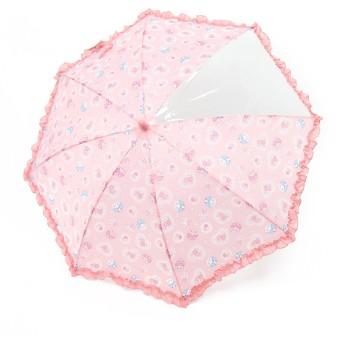 【オンワード】 Mother garden(マザーガーデン) うさもも 長傘 かさ レースフラワー柄 ピンク(淡) 傘50cm キッズ