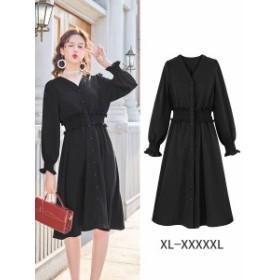 【XL~4XL】 大きいサイズ レディース 春 夏 ドレス ワンピース 長袖 ミディアム丈 スカート 4l 3l
