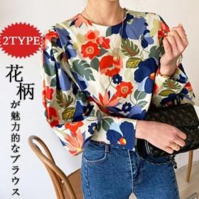 韓国ファッション 可愛い 花柄 レディース レース ラグラン カットソー Tシャツ 袖切替 長袖 トップス レディース