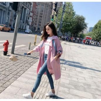 春の新商品 韓国風 2019春 新 大きいサイズ 女性 太った姉妹 ウインドブレーカー ジャケット 長いセクション ゆったりした マイクロファット 長袖シャツ