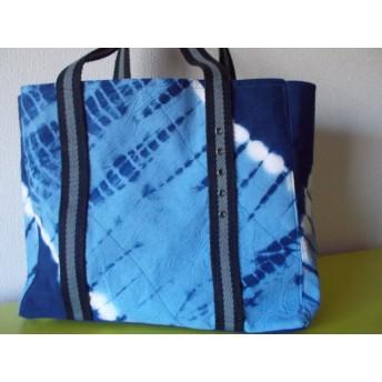 (758)藍染紺:波:横35cmX立て29cm。