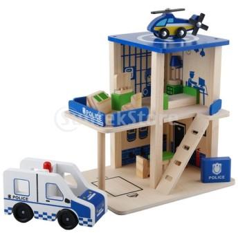 2色選ぶ 人形屋プレーセット 警察署 消防署 ドールハウス 木製おもちゃ - ブルー