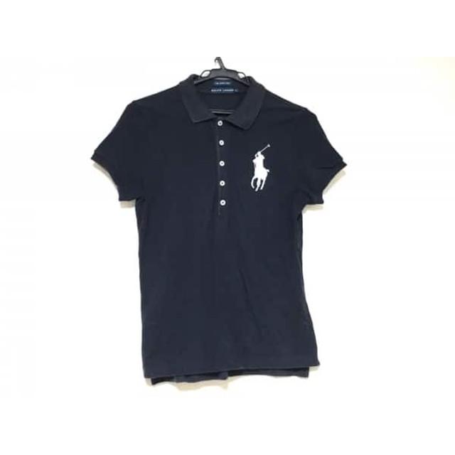 【中古】 ラルフローレン 半袖ポロシャツ サイズL レディース ビッグポニー ダークネイビー 白 刺繍