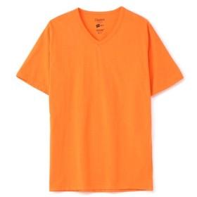 HANES VネックTシャツ メンズ オレンジ