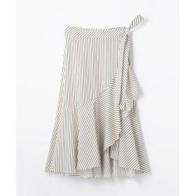 TOMORROWLAND / トゥモローランド コットンストライプ アシンメトリーラップスカート