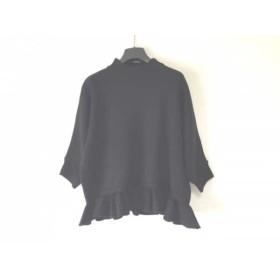 【中古】 グレースコンチネンタル 半袖セーター サイズ36 S レディース 黒 ハイネック/フリル