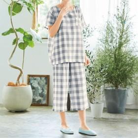 【レディース】 やみつきの軽さ!さわやかサマーガーゼかぶりパジャマ ■カラー:グレー系 ■サイズ:M,L,5L,LL