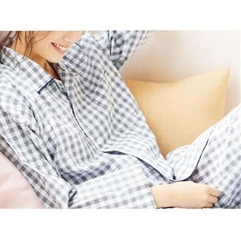 30%OFF【レディース】 爽やか長袖シャツパジャマ(メンズサイズ・綿100%・チェック柄) ■カラー:グレー ■サイズ:5L