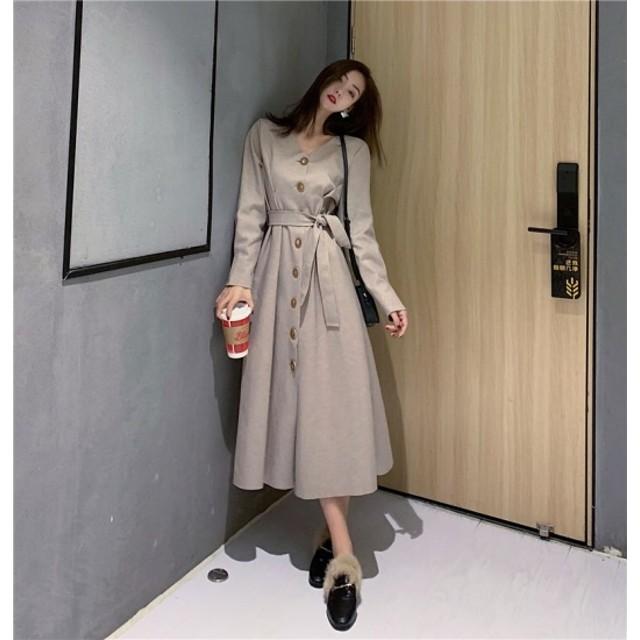ロングワンピース 大きいサイズ ゆったり Vネック フロントボタン ワンピース 春 新作 長袖 トレンド 韓国デザイン 5205409