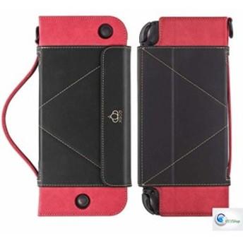 【YS!/Shop】任天堂スイッチ Nintendo Switch 手帳型 ケース BK/RD 高級PUレザー製 ストラップ付き