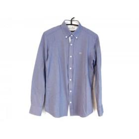 【中古】 ラコステ Lacoste 長袖シャツ サイズ2 M メンズ ブルー 白