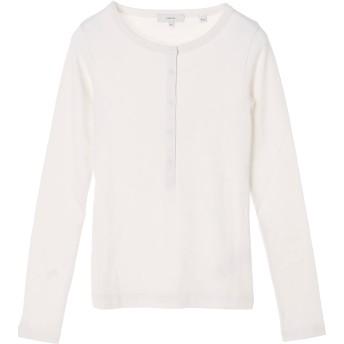 Vince Vince[ヴィンス] コットンモダール ヘンリーネック 長袖Tシャツ Tシャツ・カットソー,ホワイト