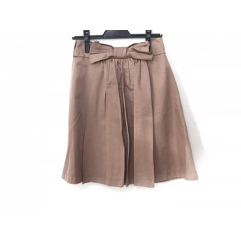 【中古】 ランバンオンブルー スカート サイズ36 S レディース 美品 ライトブラウン リボン