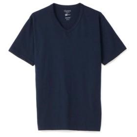 HANES VネックTシャツ メンズ ネイビー