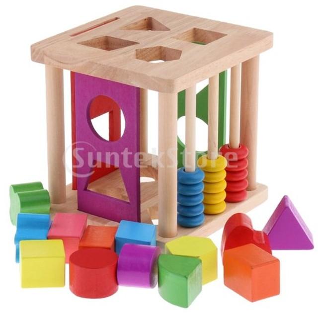 B Baosity 子供 木製おもちゃ マッチング  ブロック 形合わせ 立体パズル パズルボックス 知育玩具