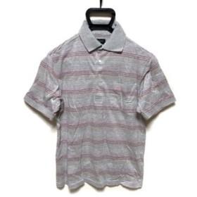 【中古】 バーバリーゴルフ 半袖ポロシャツ サイズM メンズ グレー ピンク マルチ ボーダー
