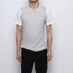 スタイルブロック STYLEBLOCK サマーニット切り替えVネックTシャツ (杢グレー)