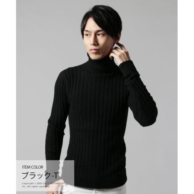 afd2595cb03c73 ザ カジュアル (バイヤーズセレクト) Buyer's Select コットン100%バレンシアリブ編みタートルネックニット. トップ  メンズファッション トップス ニット・セーター