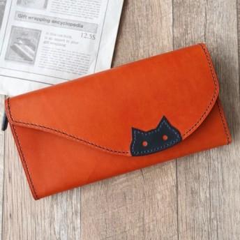 ネコちゃんの長財布 [本革] (左利き仕様に変更可)