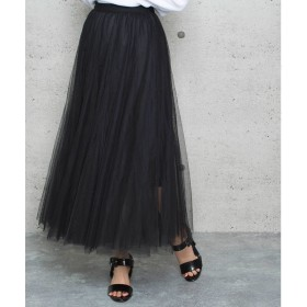 ジュエローブ Jewelobe ボリュームチュールスカート (ブラック)