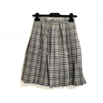 【中古】 レリアン Leilian スカート サイズ9 M レディース ベージュ ダークグリーン マルチ チェック柄