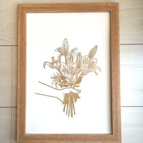 ポスター原画 シンプルゴールド ユリの花束