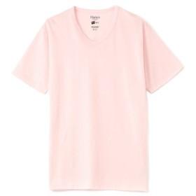 HANES VネックTシャツ メンズ ピンク