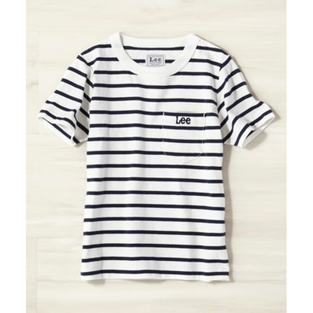 Lee ボーダーポケットTシャツ キッズ ネイビー*ホワイト