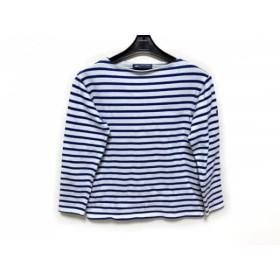 【中古】 セントジェームス SAINT JAMES 七分袖Tシャツ サイズ32(USA) レディース 白 ブルー ボーダー